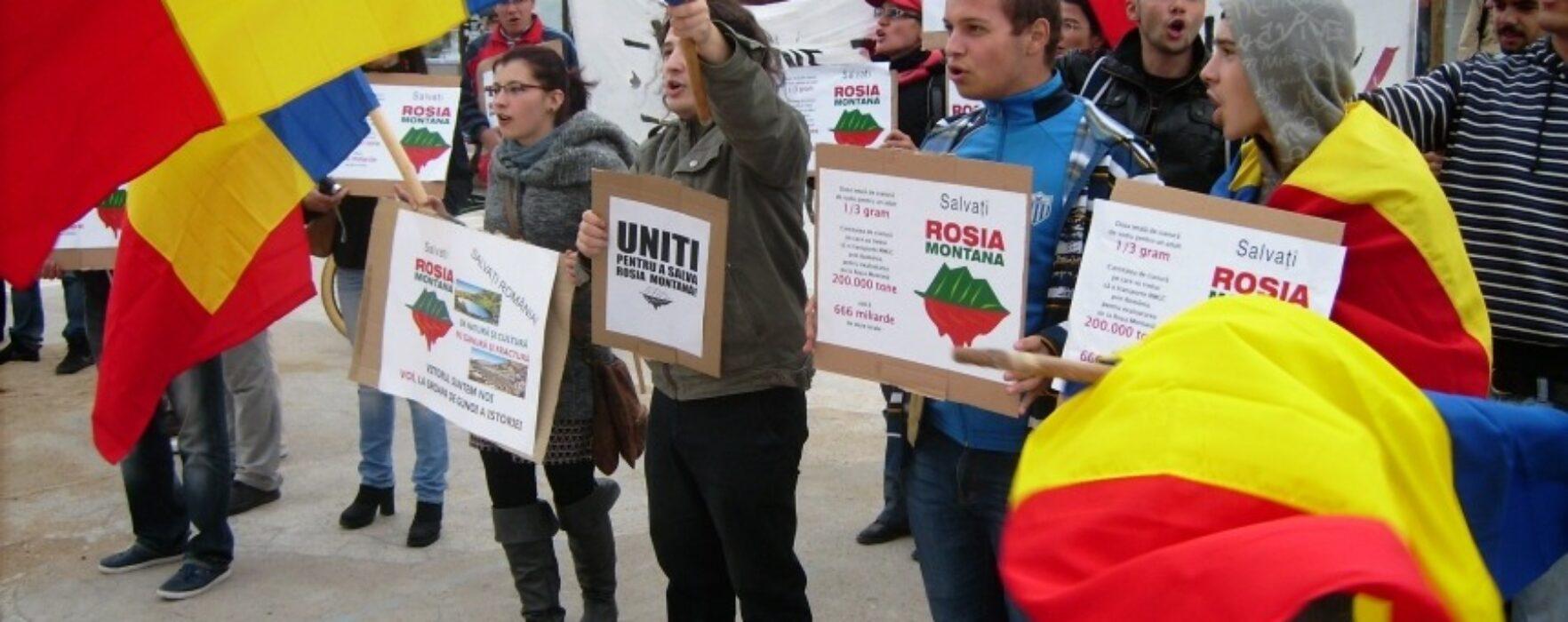 Protest, la Târgovişte, în semn de solidaritate cu Roşia Montană