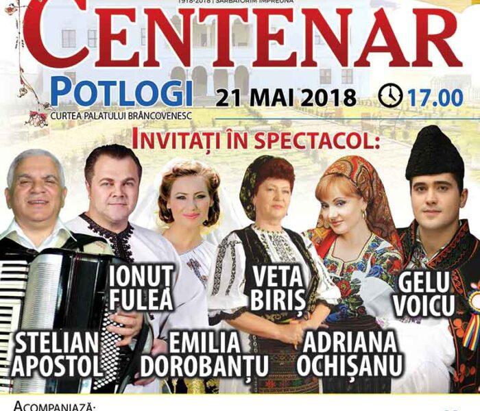 Centenar – Potlogi, concert extraordinar cu artiști din toate zonele istorice ale României