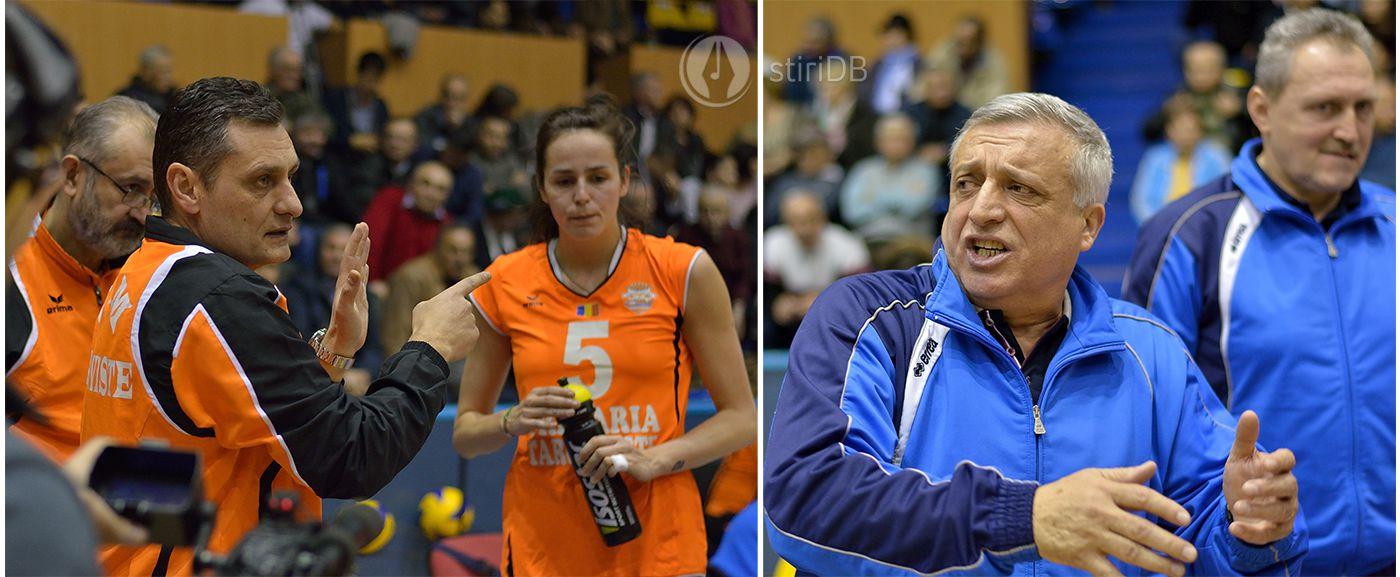 Antrenorul CSM Târgoviște, Zoran Terzic (foto stânga) / Antrenorul Știința Bacău, Florin Grapă (dreapta)