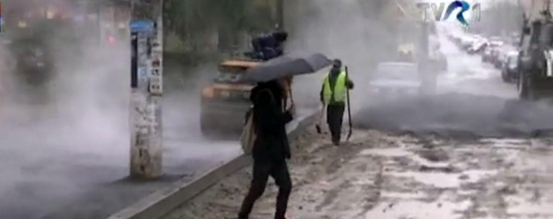 Asfaltare pe ploaie, la Târgovişte