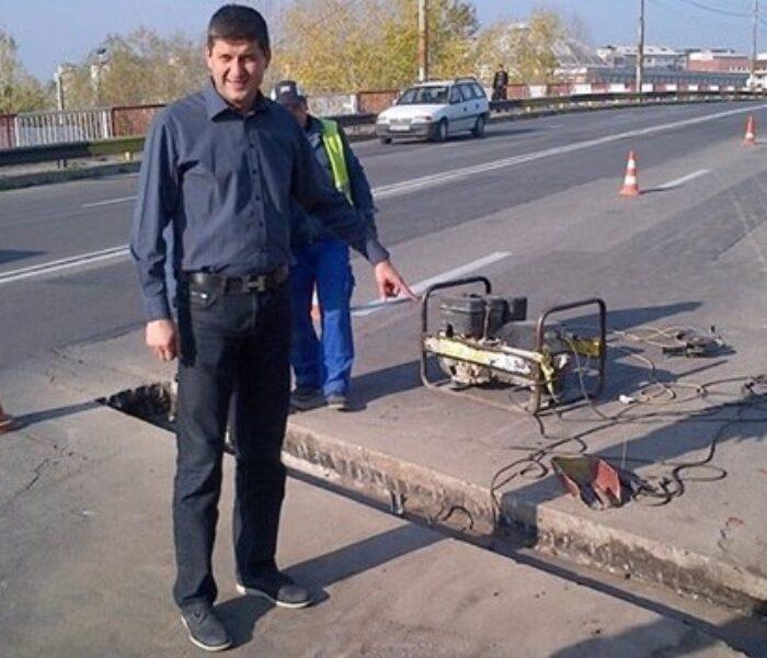 Lucrări la podul de la ieşirea din Târgovişte spre Găeşti