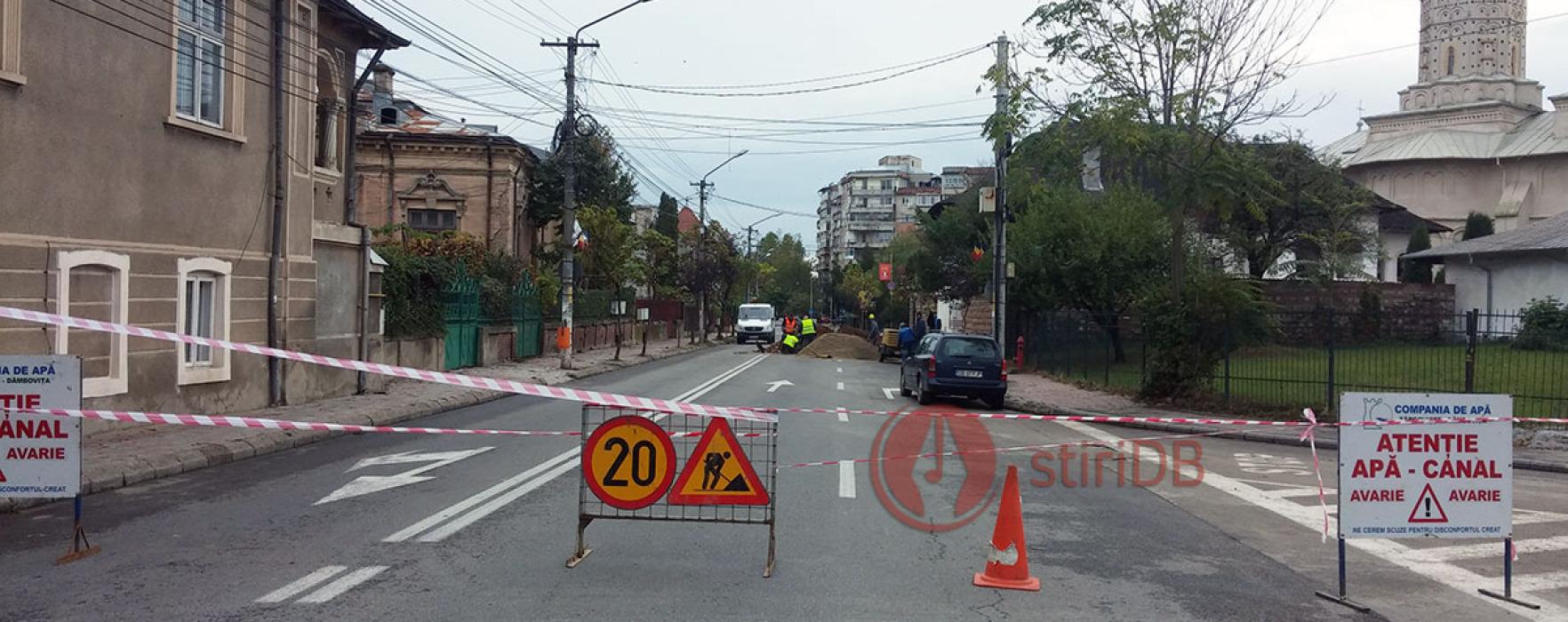 Târgovişte: Calea Domnească, blocată din cauza unei avarii reţea apă