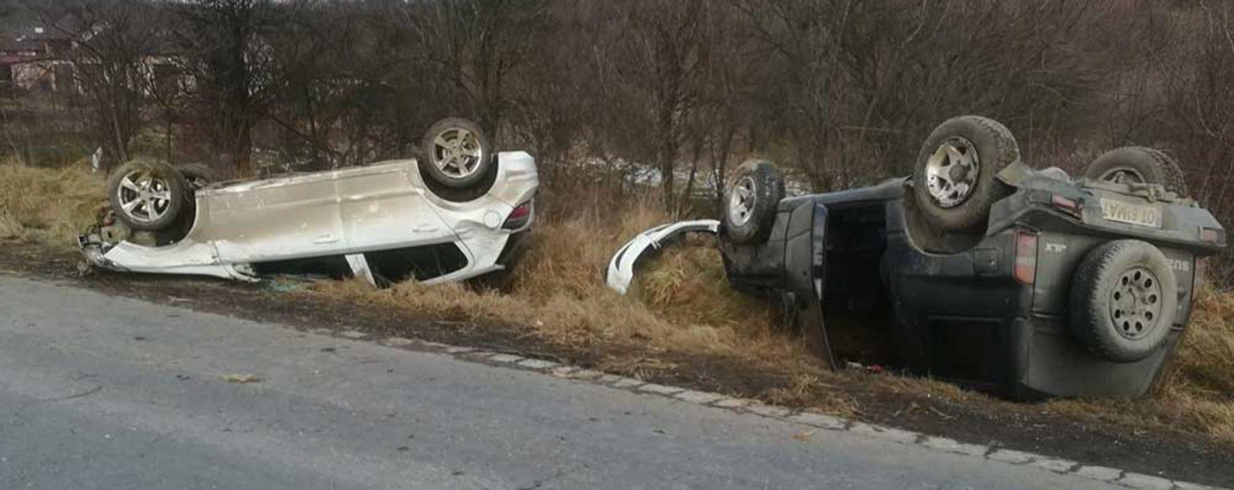 Dâmboviţa: Două maşini răsturnate pe DN 72A, în urma unui accident
