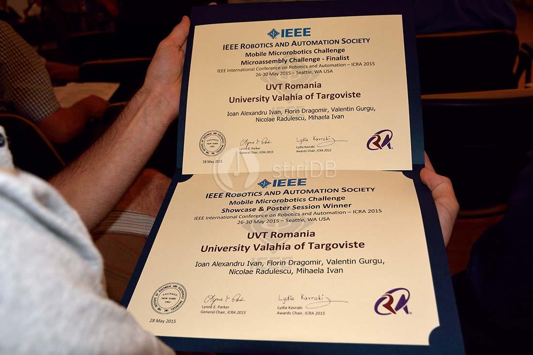 Diplomă primită la concursul de la Seattle