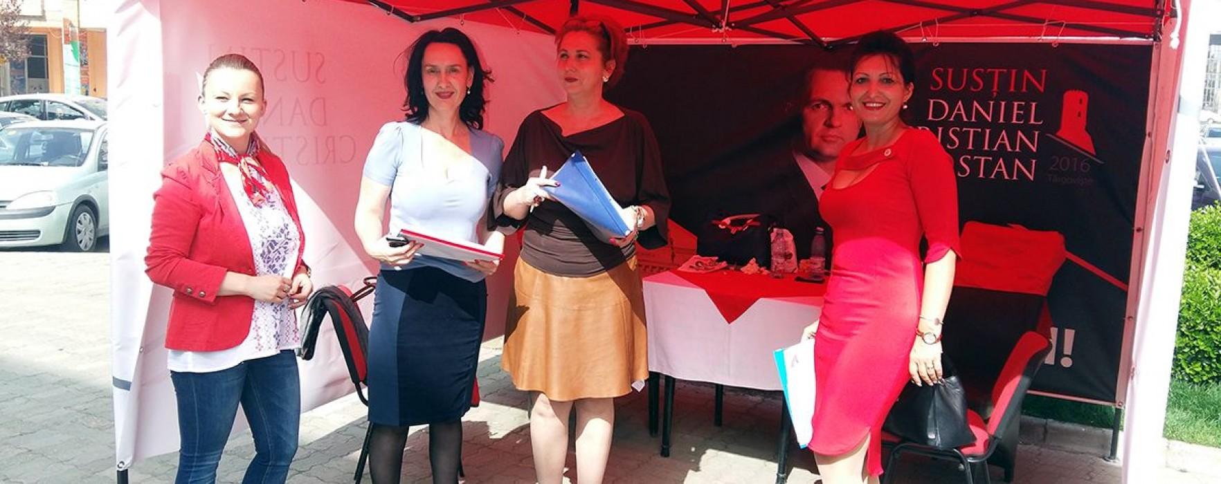 Organizaţia de femei a PSD Târgovişte s-a implicat activ în strângerea de semnături pentru Cristian Stan