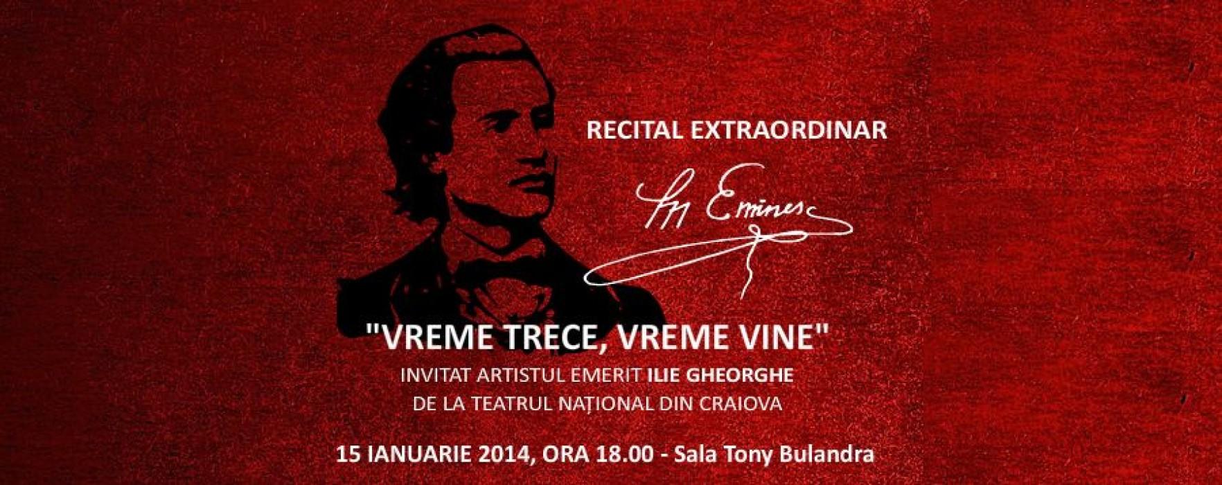 Recital Eminescu, pe 15 ianuarie, la Teatrul Municipal Târgovişte