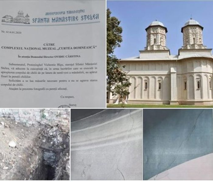 Târgovişte: Se crapă pereţii chiliilor de la Mănăstirea Stelea, în urma săpăturilor arheologice din apropiere
