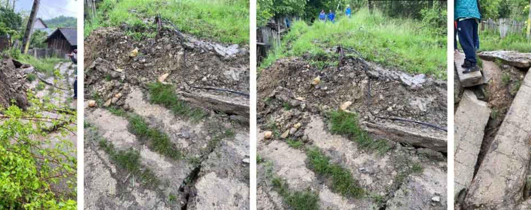 Dâmboviţa: Alunecare de teren la Vulcana Băi, trei case în pericol